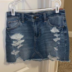 hollister jean skirt ripped high rise
